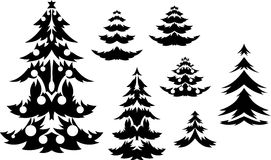 Christmas trees silhouette Stock Photography