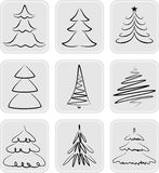 Christmas trees. Silhouettes. May be used as icons Royalty Free Stock Image