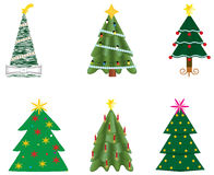 Christmas trees. Six different decorated Christmas trees Royalty Free Stock Image