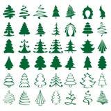 Christmas trees sketch set   illustration Royalty Free Stock Photos