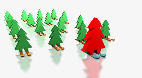 Christmas trees skiing with the leader. Green Christmas trees skiing with the red leader royalty free illustration