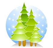 Christmas Trees With Snow. A clip art illustration of a group of abstract looking Christmas trees with white snowflakes set against blue circle background Royalty Free Stock Photo