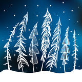 Christmas trees in snow forest. Fir Trees in snow forest. Vintage Background. Vector Illustration Royalty Free Stock Photo