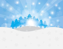 Christmas Trees in Snow Winter Scene Illustration Stock Photo