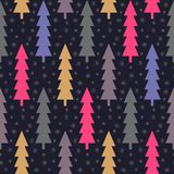 Christmas trees and snowflake seamless pattern. Dark backdrop. Retro colors. Winter concept. Vector illustration. Stock Photography