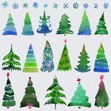 Christmas trees and snowflake set of holidays hand drawn paint winter season. Vector set design holiday christmas trees royalty free illustration