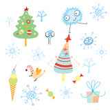 Christmas trees and snowflakes. Christmas trees and monsters on a white background with snowflakes Royalty Free Stock Image