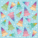 Christmas trees & snowflakes background, pattern. Stock Photography