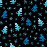 Christmas trees snowflakes royalty free illustration
