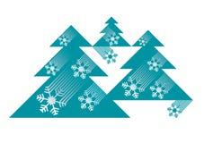 Christmas trees with snowflakes. Stock Photos