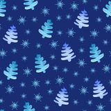 Christmas trees snowflakes seamless pattern. vector illustration