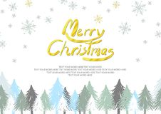 Christmas trees and snowflakes are on white background stock image