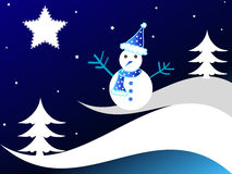 Christmas trees and snowman Stock Photography