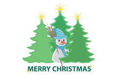 Christmas trees and a snowman Royalty Free Stock Photo