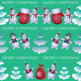 Christmas trees, Snowmen and gifts. Stock Photos