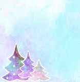 Christmas trees snowy background with space for text Stock Photos