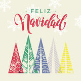 Christmas trees Spain Feliz Navidad winter holidays greeting card art Royalty Free Stock Images