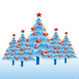 Christmas trees with a star, abstract set light blue on a white vector illustration