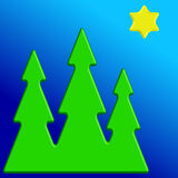 Christmas trees and star Stock Images
