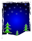 Christmas trees and stars. At night stock illustration