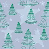 Christmas trees and stars. Background (vector version is seamless tile Stock Images