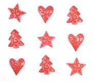 Christmas Trees, Stars and Hearts. Red trees, stars and hearts isolated on a white background Stock Images