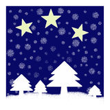 Christmas trees with stars. Illustration of Christmas trees. Winter scene royalty free illustration
