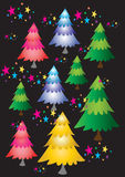 Christmas trees with stars. Nine multicolored Christmas fir trees with stars dancing around them set on a black background Stock Images