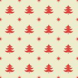 Christmas trees flat pattern. Christmas trees and stars red flat pattern illustration Royalty Free Stock Images