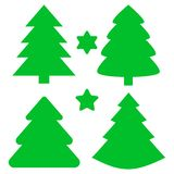 Christmas Trees and Stars Set. Vector illustration.  stock illustration