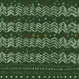 Christmas trees, stars and snowflakes. In red, gold beige and white colors seamless pattern on green background stock illustration