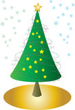Christmas trees with stars. A stylized Christmas tree with decorations and stars Royalty Free Stock Image