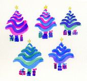 Christmas trees, stylized in bright colours. Stock Photo