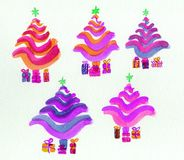 Christmas trees, stylized in bright colours. Royalty Free Stock Photo