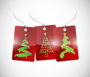 Christmas trees tags illustration design Stock Photography