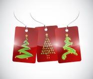 Christmas trees tags illustration design Stock Photography