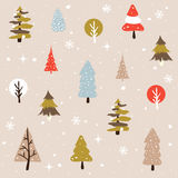 Christmas trees theme. Seamless natural ornament on the Christmas theme stock illustration
