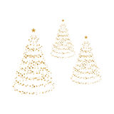 Christmas trees. Three christmas trees made of golden stars Royalty Free Stock Images