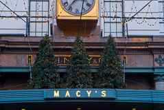 Christmas Trees on Top of Macy's in Manhattan, NYC Stock Images