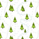 Christmas Trees and Tracks Seamless Pattern. Royalty Free Stock Photography