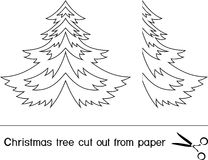 Christmas trees. Christmas tree cut out from paper stock illustration