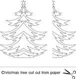 Christmas trees. Christmas tree cut out from paper vector illustration