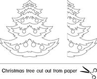 Christmas trees. Christmas tree cut out from paper royalty free illustration