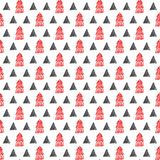 Christmas trees with triangle on a white background stock illustration