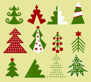 Christmas trees. Unusual images of Christmas trees in different colors Stock Illustration