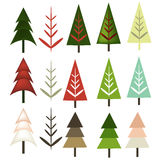 Christmas trees in various shapes. Abstract Christmas stylized tress in different colors and shades Royalty Free Stock Image