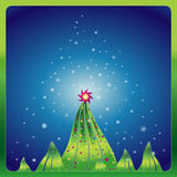 Christmas trees,vector. Christmas night in the  pine forest,vector illustration Stock Photo