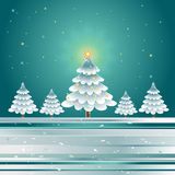 Christmas trees,vector. Christmas trees in the dark night,vector illustration Royalty Free Stock Image