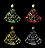 Christmas trees vector. Set of christmas trees in various colours with stars in vector format vector illustration