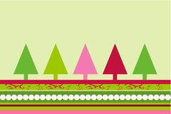 Christmas  trees vector. Christmas trees design with simplistic retro shapes on stripes and swirls pattern in Vector format Royalty Free Stock Image